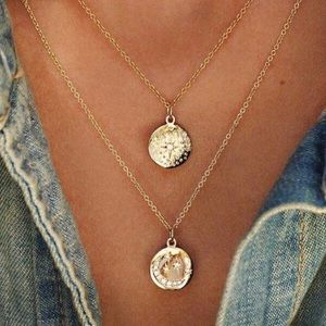4 for $25⚡️Moon & north star coin layered necklace